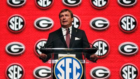 Georgia head coach Kirby Smart speaks duringSoutheastern Conference Media Days Tuesday, July 17, 2018, in Atlanta. (AP Photo/John Bazemore)
