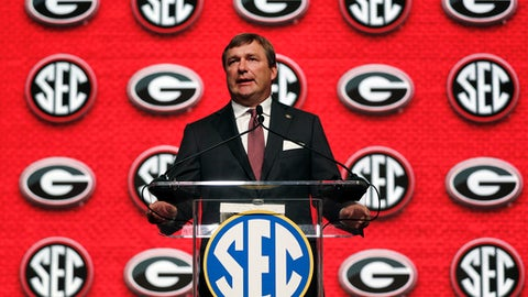 Georgia head coach Kirby Smart speaks duringSoutheastern Conference Media Days Tuesday, July 17, 2018, in Atlanta. (AP Photo/John Bazemore)