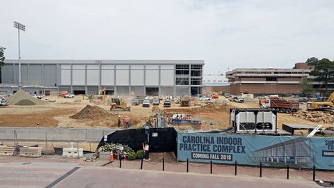 This photo taken Monday, July 16, 2018 overlooks the indoor and outdoor football practice facilities under construction at the University of North Carolina in Chapel Hill, N.C. The indoor football practice complex is part of a facility upgrade project costing more than $100 million. It is expected to open in September. (AP Photo/Gerry Broome)