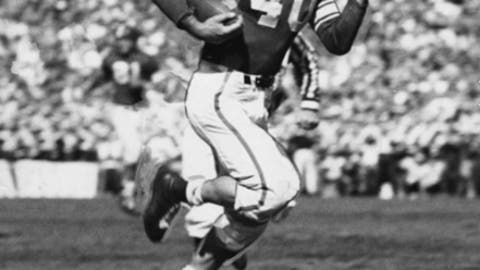 This undated photo provided by Michigan State University shows Don McAuliffe. Former Michigan State football star Don McAuliffe, a fighter in his youth, battled to the very end. The star running back and captain for Michigan States undefeated 1952 national championship team has died at age 90 on Saturday, July 14, 2018. (Michigan State University via AP)