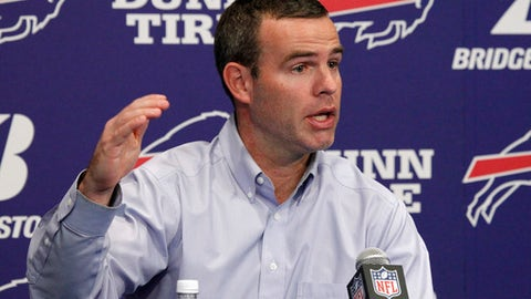 FILE - In this Jan. 9, 2018, file photo, Buffalo Bills general manager Brandon Beane addresses the media during an end-of-season NFL football news conference, in Orchard Park, N.Y. Brandon Beane is happy he's still around to tell the story of when the Bills pegged quarterback Josh Allen to become their heir-apparent starter.  The amount of film the Bills general manager watched, games attended and people he interviewed before drafting the Wyoming quarterback in the first round was nothing compared to the hair-raising experience Beane and the team's brain trust had visiting Allen in mid-March. (AP Photo/Jeffrey T. Barnes, File)