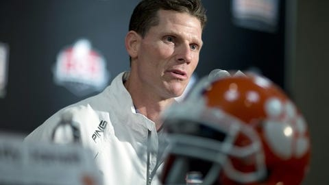 Clemson defensive coordinator Brent Venables talks to the media during an NCAA college football news conference on Tuesday, Dec. 31, 2013, in Fort Lauderdale, Fla. Clemson takes on Ohio State in the Orange Bowl on Friday, Jan. 3, 2014. (AP Photo/J Pat Carter)