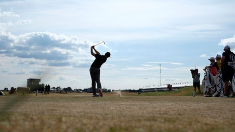 Rory McIlroy of Northern Ireland plays off the 16th tee during the first round of the British Open Golf Championship in Carnoustie, Scotland, Thursday July 19, 2018. (AP Photo/Alastair Grant)