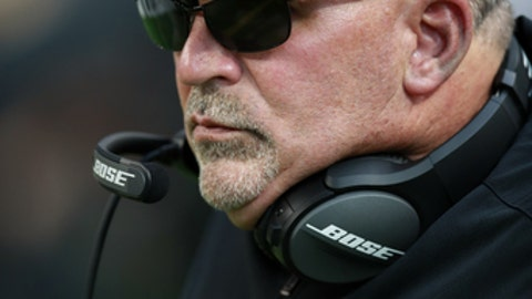 Minnesota Vikings offensive line coach Tony Sparano looks on from the sideline during an NFL football game against the New Orleans Saints, Monday, Sept. 11, 2017, in Minneapolis. The Vikings won 29-19. (Jeff Haynes/AP Images for Panini)