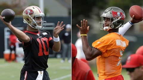FILE - At left, in a May 30, 2018, file photo, San Francisco 49ers quarterback Jimmy Garoppolo passes during a practice at the team's NFL football training facility in Santa Clara, Calif. At right, in a June 14, 2018, file photo, Tampa Bay Buccaneers quarterback Jameis Winston passes during an NFL football minicamp, in Tampa, Fla. Not every quarterback has the same grip on a starting job as Tom Brady, and a sloppy start can lead to a spot on the bench with a promising rookie making the leash shorter. A handful of quarterbacks head into training camp under pressure to produce. (AP Photo/File)