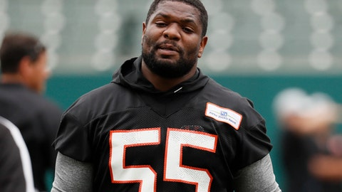 FILE - In this June 12, 2018, file photo, Cincinnati Bengals linebacker Vontaze Burflict participates during practice at the NFL football team's training camp, in Cincinnati. The Bengals open camp in a familiar situation, knowing they'll be without suspended linebacker Vontaze Burfict for the first four games. (AP Photo/John Minchillo, File)