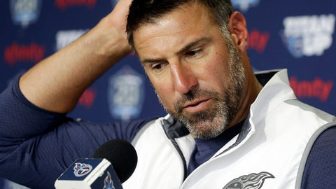 Tennessee Titans head coach Mike Vrabel answers questions during a news conference, Wednesday, July 25, 2018, in Nashville, Tenn., the day before NFL football training camp begins. (AP Photo/Mark Humphrey)