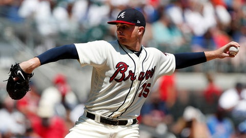 Atlanta Braves starting pitcher Sean Newcomb works in the fifth inning of a baseball game against the Los Angeles Dodgers, Sunday, July 29, 2018, in Atlanta. (AP Photo/John Bazemore)