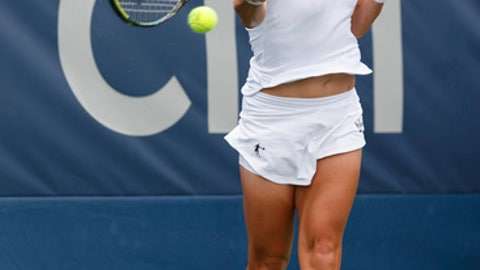 Svetlana Kuznetsova of Russia returns against Kristie Ahn during the first round of the Citi Open tennis tournament, Monday, July 30, 2018, in Washington. (AP Photo/Carolyn Kaster)