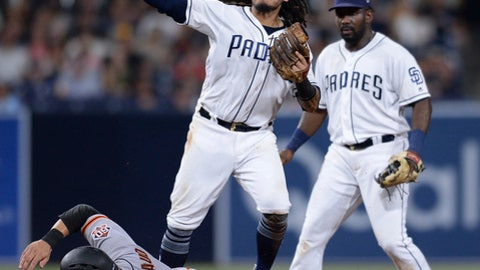 San Francisco Giants' Chase d'Arnaud is forced out at second base by San Diego Padres shortstop Freddy Galvis, center, on a ball hit by Steven Duggar during the sixth inning of a baseball game, Monday, July 30, 2018, in San Diego. (AP Photo/Orlando Ramirez)