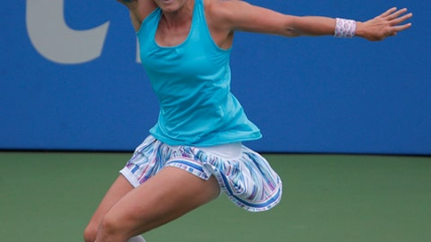 Bethanie Mattek-Sands returns against Sloane Stephens during the first round of the Citi Open tennis tournament, Tuesday, July 31, 2018, in Washington. (AP Photo/Carolyn Kaster)