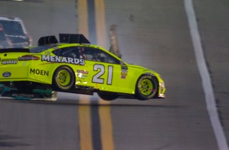 Paul Menard gets airborne after making contact with Jimmie Johnson   2018 DAYTONA