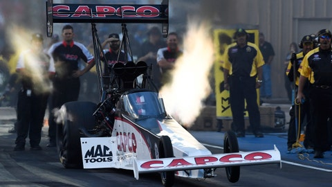 MORRISON, CO - JULY 21: NHRA top fuel driver Steve Torrence takes off the line for his first run of the night at the 38th annual Mopar Mile High NHRA Nationals at Bandimere Speedway July 21, 2017. (Photo by Andy Cross/The Denver Post via Getty Images)