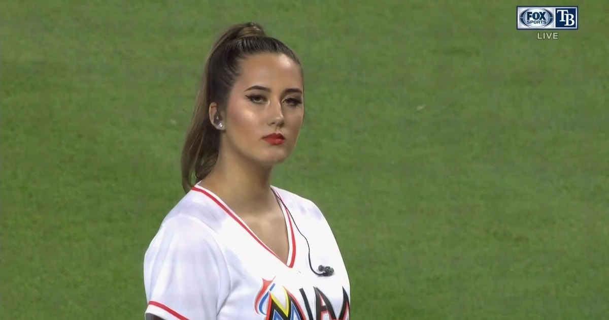 ccd1e5d58 Alexis Salgado sings the National Anthem at Marlins Park on the Fourth of  July   FOX Sports