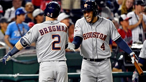 Jul 17, 2018; Washington, DC, USA; American League infielder  Alex Bregman (2) of the Houston Astros (2) celebrates with American League outfielder George Springer of the Houston Astros (4) after hitting a home run during the nineteenth inning against the National League in the 2018 MLB All Star Game at Nationals Ballpark. Mandatory Credit: Brad Mills-USA TODAY Sports