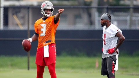Jun 13, 2017; Tampa Bay, FL, USA; Tampa Bay Buccaneers quarterback Jameis Winston (3) and wide receiver DeSean Jackson (1) talk during minicamp at One Buccaneer Place. Mandatory Credit: Kim Klement-USA TODAY Sports