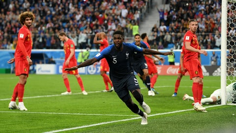SAINT PETERSBURG, RUSSIA - JULY 10:  Samuel Umtiti of France celebrates after scoring his team's first goal during the 2018 FIFA World Cup Russia Semi Final match between Belgium and France at Saint Petersburg Stadium on July 10, 2018 in Saint Petersburg, Russia.  (Photo by Shaun Botterill/Getty Images)