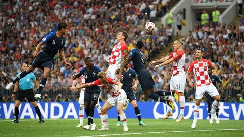 MOSCOW, RUSSIA - JULY 15:  Mario Mandzukic of Croatia scores an own goal for France's first goal during the 2018 FIFA World Cup Final between France and Croatia at Luzhniki Stadium on July 15, 2018 in Moscow, Russia.  (Photo by Matthias Hangst/Getty Images)