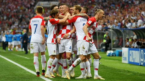 MOSCOW, RUSSIA - JULY 15:  Ivan Perisic of Croatia celebrates with team mates after scoring his team's first goal during the 2018 FIFA World Cup Final between France and Croatia at Luzhniki Stadium on July 15, 2018 in Moscow, Russia.  (Photo by Shaun Botterill/Getty Images)