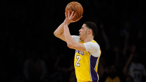 March 5, 2018; Los Angeles, CA, USA; Los Angeles Lakers guard Lonzo Ball (2) shoots against the Portland Trail Blazers during the second half at Staples Center. Mandatory Credit: Gary A. Vasquez-USA TODAY Sports