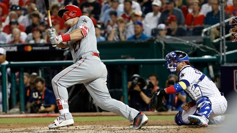 Jul 17, 2018; Washington, DC, USA; American League outfielder Mike Trout of the Los Angeles Angels (27) hits a home run during the third inning in the 2018 MLB All Star Game at Nationals Ballpark. Mandatory Credit: Geoff Burke-USA TODAY Sports