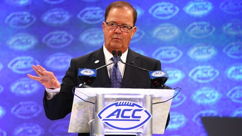 Jul 18, 2018; Charlotte, NC, USA; Duke Blue Devils head coach David Cutcliffe speaks with members of the media during ACC football media day at The Westin. Mandatory Credit: Jeremy Brevard-USA TODAY Sports