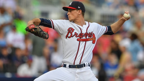 Jul 28, 2018; Atlanta, GA, USA; Atlanta Braves starting pitcher Max Fried (54) pitches against the Los Angeles Dodgers during the first inning at SunTrust Park. Mandatory Credit: Dale Zanine-USA TODAY Sports