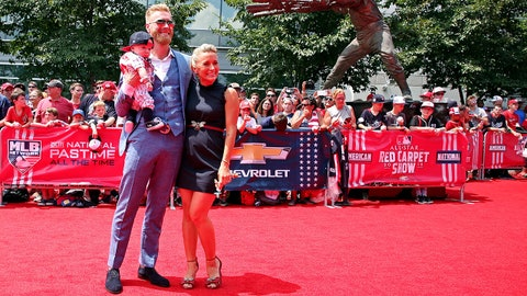 Jul 17, 2018; Washington, DC, USA; National League pitcher Mike Foltynewicz of the Atlanta Braves (26) no the red carpet before the 2018 MLB home run derby at Nationals Ballpark. Mandatory Credit: Geoff Burke-USA TODAY Sports