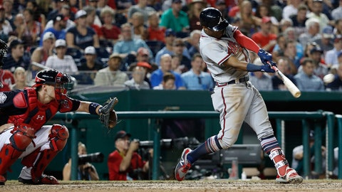 Jul 20, 2018; Washington, DC, USA; Atlanta Braves left fielder Ronald Acuna Jr. (13) hits a home run against the Washington Nationals in the eighth inning at Nationals Park. Mandatory Credit: Geoff Burke-USA TODAY Sports