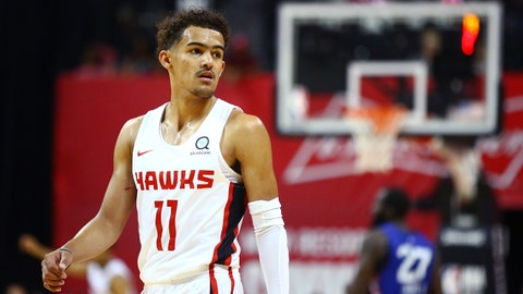 Jul 7, 2018; Las Vegas, NV, USA; Atlanta Hawks guard Trae Young (11) against the New York Knicks during an NBA Summer League game at the Thomas & Mack Center. Mandatory Credit: Mark J. Rebilas-USA TODAY Sports