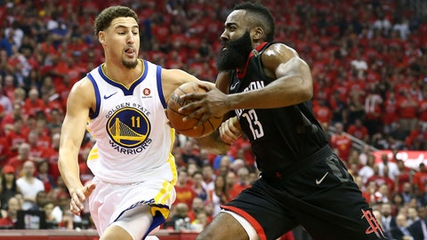 May 28, 2018; Houston, TX, USA; Houston Rockets guard James Harden (13) drives against Golden State Warriors guard Klay Thompson (11) during the second quarter in game seven of the Western conference finals of the 2018 NBA Playoffs at Toyota Center. Mandatory Credit: Troy Taormina-USA TODAY Sports