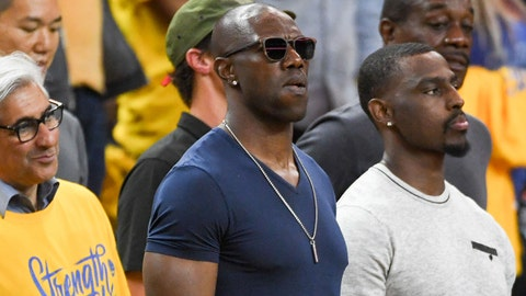 June 3, 2018; Oakland, CA, USA; NFL former player Terrell Owens during the second quarter in game two of the 2018 NBA Finals between the Golden State Warriors and the Cleveland Cavaliers at Oracle Arena. The Warriors defeated the Cavaliers 122-103 for a 2-0 lead in the series. Mandatory Credit: Kyle Terada-USA TODAY Sports