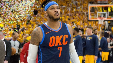 Apr 27, 2018; Salt Lake City, UT, USA; Oklahoma City Thunder forward Carmelo Anthony (7) walks off the court after losing game six of the first round of the 2018 NBA Playoffs against against the Utah Jazz at Vivint Smart Home Arena. Mandatory Credit: Russ Isabella-USA TODAY Sports
