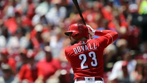 Jul 1, 2018; Cincinnati, OH, USA; Cincinnati Reds left fielder Adam Duvall (23) against the Milwaukee Brewers at Great American Ball Park. Mandatory Credit: Aaron Doster-USA TODAY Sports