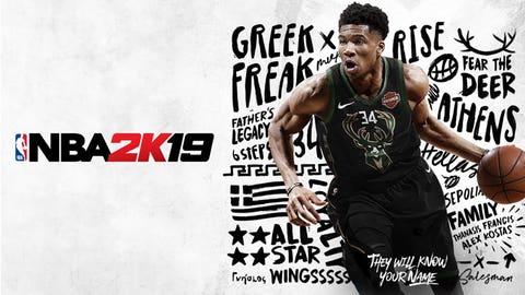 Giannis Antetokounmpo of Milwaukee Bucks on cover for National Basketball Association 2K19 game