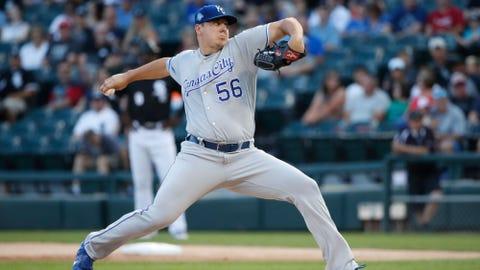 Jul 13, 2018; Chicago, IL, USA; Kansas City Royals starting pitcher Brad Keller (56) pitches against the Chicago White Sox during the first inning at Guaranteed Rate Field. Mandatory Credit: Kamil Krzaczynski-USA TODAY Sports