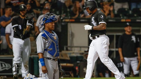Jul 13, 2018; Chicago, IL, USA; Chicago White Sox center fielder Leury Garcia (28) crosses home plate after hitting a solo home run off Kansas City Royals relief pitcher Tim Hill (not pictured) during the sixth inning at Guaranteed Rate Field. Mandatory Credit: Kamil Krzaczynski-USA TODAY Sports