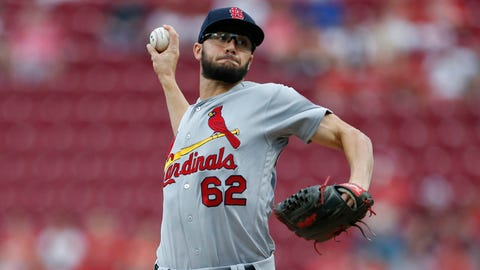 St. Louis Cardinals starting pitcher Daniel Poncedeleon (62) throws against the Cincinnati Reds during the first inning of a baseball game, Monday, July 23, 2018, in Cincinnati. (AP Photo/Gary Landers)