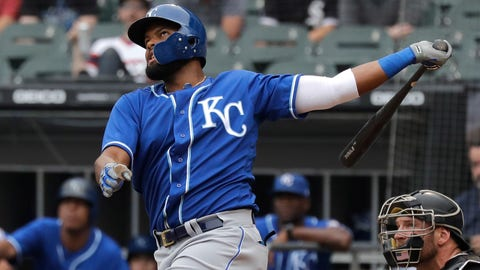 Kansas City Royals' Jorge Bonifacio watches his two-run home run during the first inning of a baseball game against the Chicago White Sox, Saturday, July 14, 2018, in Chicago. (AP Photo/Nam Y. Huh)