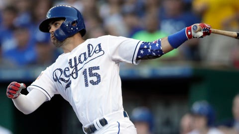 Kansas City Royals' Whit Merrifield hits a solo home run off Cleveland Indians starting pitcher Corey Kluber during the first inning of a baseball game at Kauffman Stadium in Kansas City, Mo., Monday, July 2, 2018. (AP Photo/Orlin Wagner)