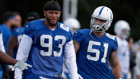 In this Friday, July 27, 2018 photo, Indianapolis Colts linebackers Jabaal Sheard (93) and John Simon (51) walk between drills during practice at the NFL team's football training camp in Westfield, Ind. (AP Photo/Michael Conroy)