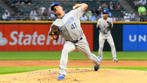 Jul 31, 2018; Chicago, IL, USA; Kansas City Royals starting pitcher Danny Duffy (41) throws a pitch against the Chicago White Sox during the first inning at Guaranteed Rate Field. Mandatory Credit: Mike DiNovo-USA TODAY Sports