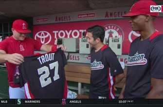 U.S. Army Sergeant presents Mike Trout with his All-Star Game jersey