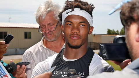 <p>               FILE - In this Monday, Aug. 6, 2018, file photo, Oklahoma quarterback Kyler Murray talks with the media following an NCAA college football practice in Norman, Okla. Murray has been picked as Oklahoma's starting quarterback. (AP Photo/Sue Ogrocki)             </p>