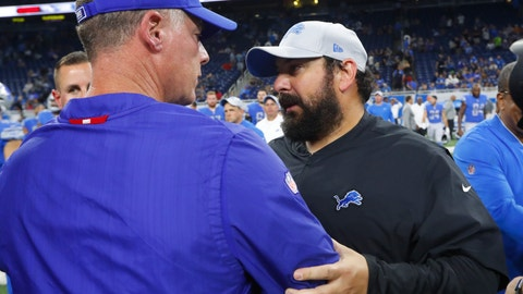 <p>               Detroit Lions head coach Matt Patricia, right, meets with New York Giants head coach Pat Shurmur after their team's preseason NFL football game, Friday, Aug. 17, 2018, in Detroit. (AP Photo/Paul Sancya)             </p>