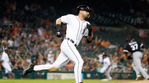 <p>               Detroit Tigers' Nicholas Castellanos rounds first base on a two-run single in the eighth inning of a baseball game against the Chicago White Sox in Detroit, Monday, Aug. 13, 2018. (AP Photo/Paul Sancya)             </p>