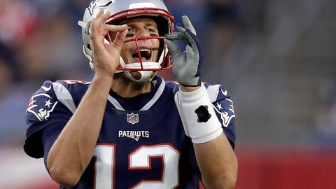 <p>               New England Patriots quarterback Tom Brady calls signals at the line of scrimmage during the first half of a preseason NFL football game against the Philadelphia Eagles, Thursday, Aug. 16, 2018, in Foxborough, Mass. (AP Photo/Charles Krupa)             </p>