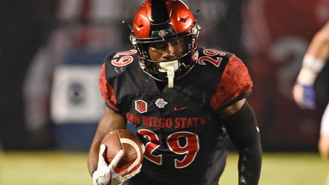 <p>               FILE - In this Oct. 14, 2017, file photo, San Diego State running back Juwan Washington runs during an NCAA college football game against Boise State in San Diego. Washington is ready for his turn to be San Diego State's featured running back. If he's as successful as D.J. Pumphrey and Rashaad Penny before him, the Aztecs will have their third straight 2,000-yard rusher. (AP Photo/Denis Poroy, file)             </p>