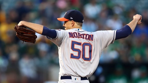 <p>               Houston Astros pitcher Charlie Morton works against the Oakland Athletics in the first inning of a baseball game Friday, Aug. 17, 2018, in Oakland, Calif. (AP Photo/Ben Margot)             </p>