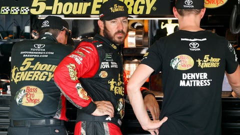 <p>               Martin Truex Jr. watches his crew work during practice for a NASCAR Cup Series auto race at Michigan International Speedway in Brooklyn, Mich., Saturday, Aug. 11, 2018. (AP Photo/Paul Sancya)             </p>